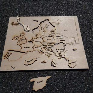 пъзел на европа от дърво