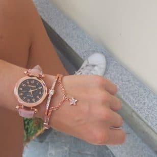 Елегантен дамски часовник и гривна Quartz Candycat