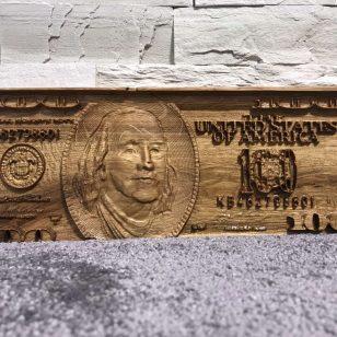 Дървена 3D 100 доларова банкнота