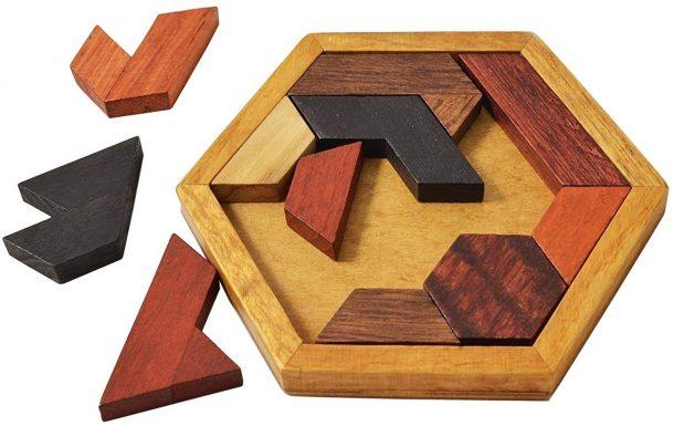дървен пъзел шестоъгълник