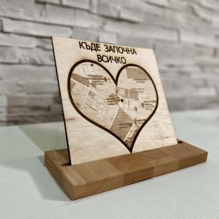 персонализирана дървена карта