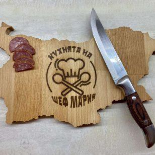 дъска за рязане във формата на България